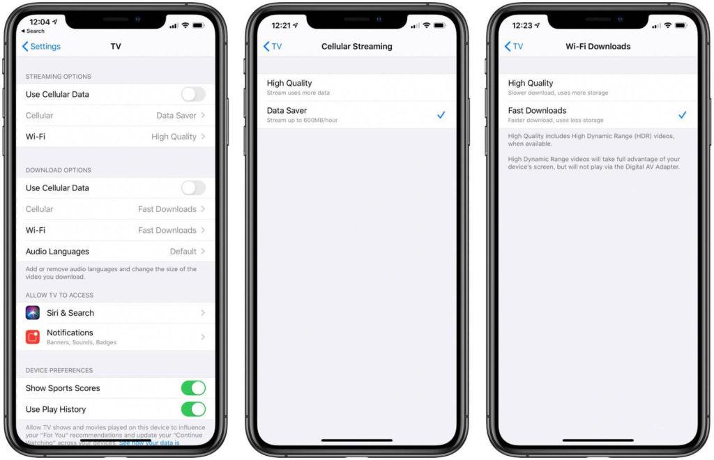 Aplikace TV v iOS 13.4 nabízí možnost úspory dat.