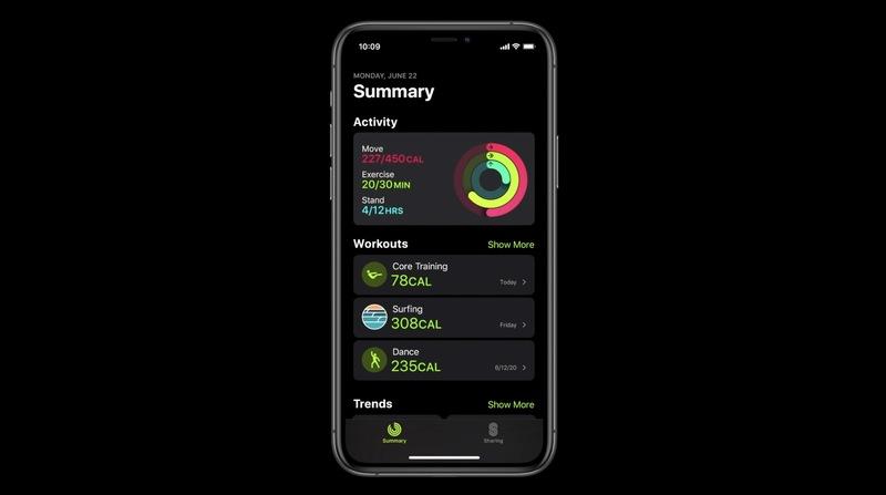 fitness app v ios 14 misto aplikace aktivita